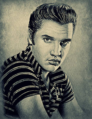 Rock And Roll Art Drawing - Young Elvis by Andrew Read