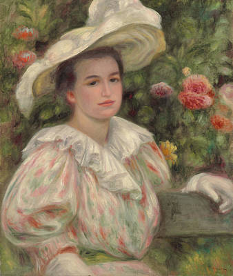 Girl With A Pink Dress Painting - Young Girl Amongst Flowers Or Woman With White Hat by Pierre Auguste Renoir