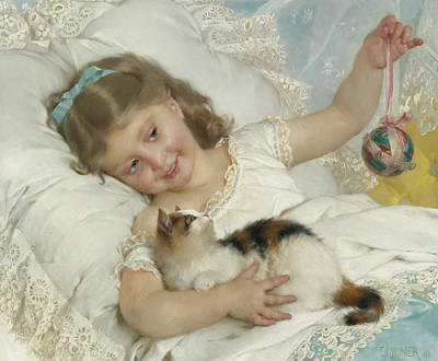 Young Girl And Cat Print by Emile Munier