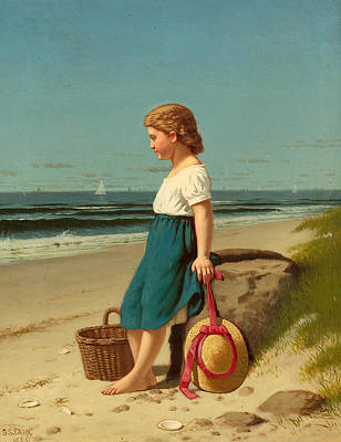 Samuel S Carr Painting - Young Girl At The Seashore by Samuel S Carr