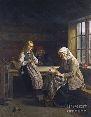 1814 Painting - Young Girl Knitting by Celestial Images
