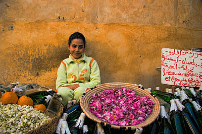 Young Girl Selling Rose Petals In The Medina Of Fes Morroco Print by David Smith