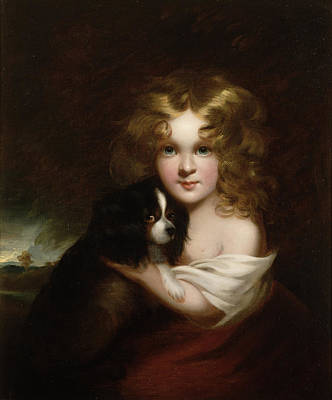 Young Girl With A Dog Print by Margaret Sarah Carpenter