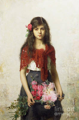 Red Flower Painting - Young Girl With Blossoms by Alexei Alexevich Harlamoff