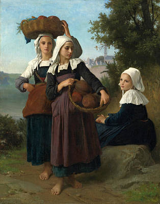 William-adolphe Bouguereau Painting - Young Girls Of Fouesnant Returning From Market by William-Adolphe Bouguereau
