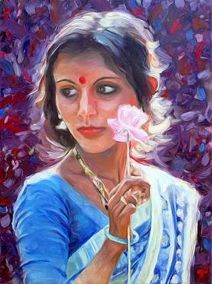Flower Painting - Young Indian Woman With Paper Flower by Peter Kupcik