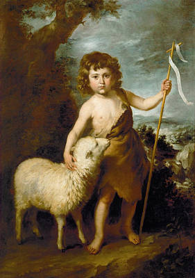 Painting - Young John The Baptist by Workshop of Bartolome Esteban Murillo