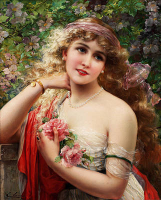Young Lady With Roses Print by Emile Vernon