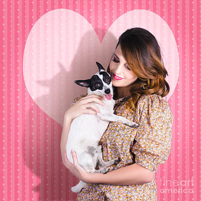 Embrace Photograph - Young Loving Woman Holding Cute Small Pet Dog by Jorgo Photography - Wall Art Gallery