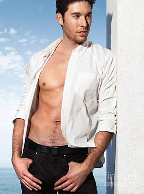 Young Man In Unbuttoned Shirt Print by Oleksiy Maksymenko