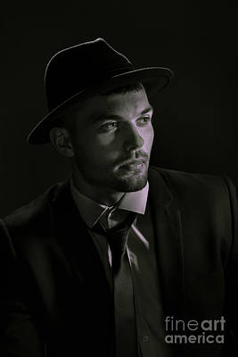Young Man Wearing Trilby Print by Amanda And Christopher Elwell