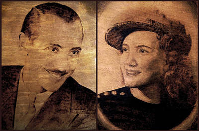 Pirogravura Pyrography - Young Mom And Dad  by Dino Muradian