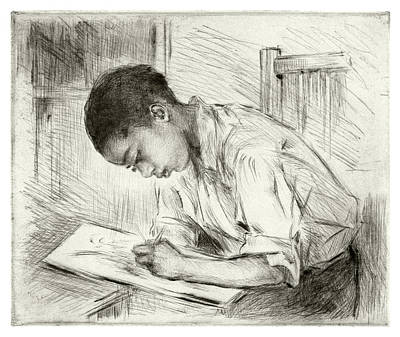 Copper Plate Etching Drawing - Young Negro Drawing by Mathilde de Cordoba