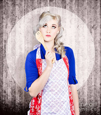 Young Pinup Housewife Thinking What To Cook Print by Jorgo Photography - Wall Art Gallery