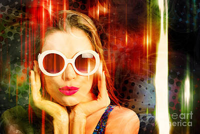 Loud Photograph - Young Retro Woman Listening To Earphones by Jorgo Photography - Wall Art Gallery