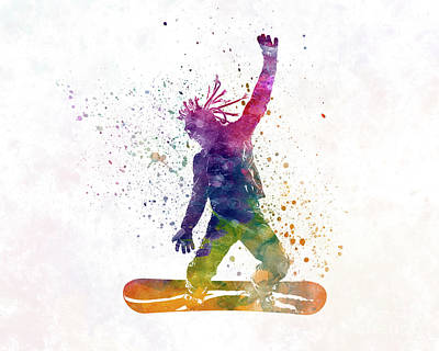 Skiing Action Painting - Young Snowboarder Man 01 In Watercolor by Pablo Romero