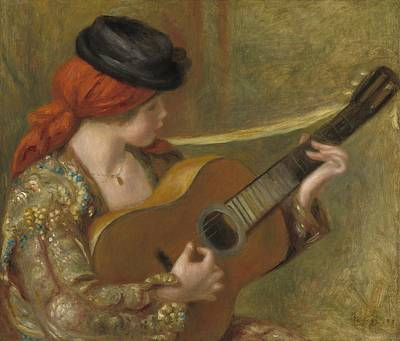 With Guitar Painting - Young Spanish Woman With A Guitar by Auguste Renoir