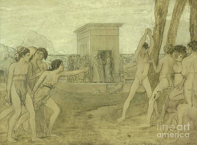 Young Spartan Girls Challenging Boys Print by Edgar Degas