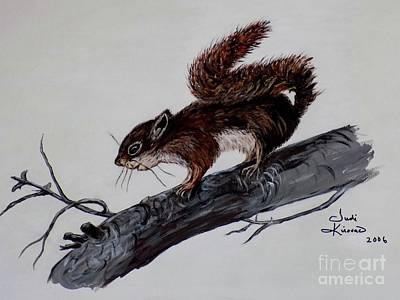 Squirrel Painting - Young Squirrel by Judy Kirouac