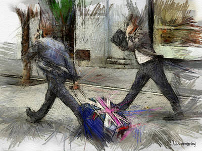 Young Urban Professionals London Uk Print by Alan Armstrong
