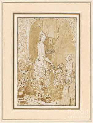 Giving Painting - Young Woman In An Arbor Giving Grapes To Two Children by Celestial Images