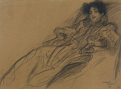 Klimt Drawing - Young Woman In An Armchair by Gustav Klimt