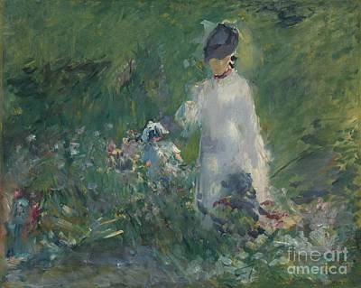 Women Painting - Young Woman In Flowers by Celestial Images