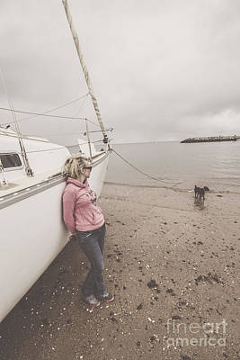 Owner Photograph - Young Woman Leaning Against A Luxury Yacht by Jorgo Photography - Wall Art Gallery