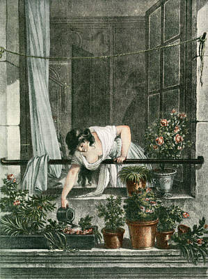 Ledge Drawing - Young Woman Watering Plants by Vintage Design Pics
