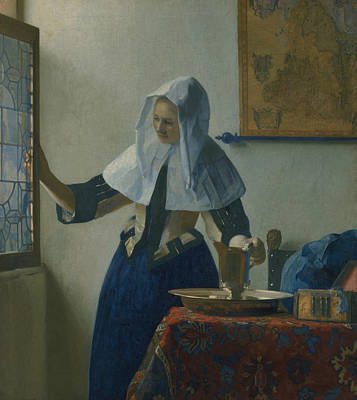Water Pitcher Painting - Young Woman With A Water Pitcher  by Jan Vermeer