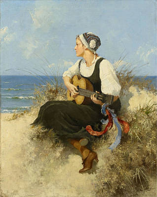 Festival Painting - Young Woman With Guitar At The Beach by Celestial Images