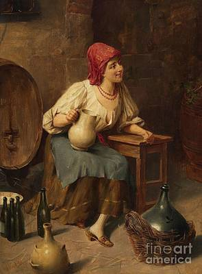 Women With Wine Painting - Young Woman With Wine Jugs And Bottles by Celestial Images