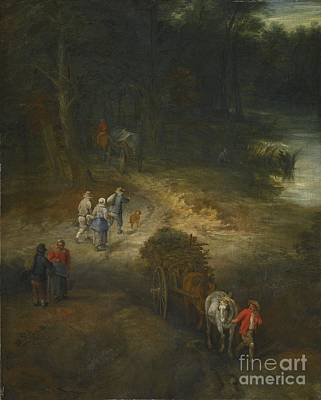 Younger A Wooded Landscape With Traveller Print by Jan Breughel