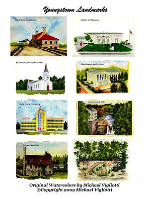 Creek Drawing - Youngstown Landmarks Collage 1 by Michael Vigliotti