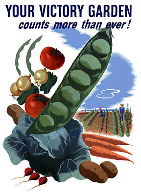 Wwii Propaganda Painting - Your Victory Garden Counts More Than Ever by War Is Hell Store