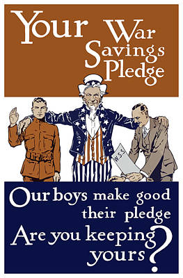Americana Painting - Your War Savings Pledge by War Is Hell Store