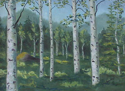 Dry Lake Painting - You're Invited To My Aspen Forest by Zanobia Shalks