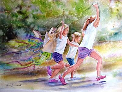 Kids Flying Kite Painting - Youth Goes By In A Blurr by Beverly Sneath