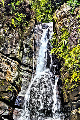 San Juan Digital Art - Yunque Waterfall by Carey Chen