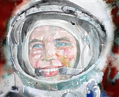 Yuri Gagarin - Watercolor Portrait.2 Original by Fabrizio Cassetta
