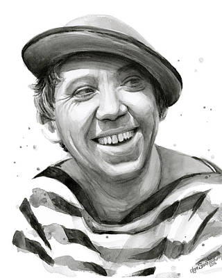 Clown Painting - Yuriy Nikulin Portrait by Olga Shvartsur