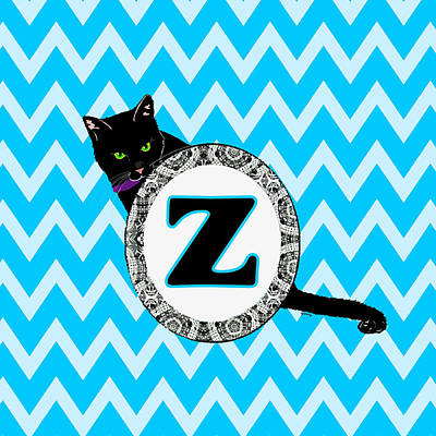 Cat Painting - Z Cat Chevron Monogram by Paintings by Gretzky