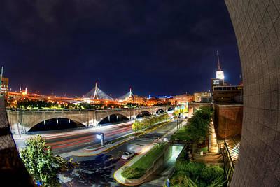 Boston Photograph - Zakim Bridge At Night - Boston Cityscape by Joann Vitali