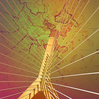 Zakim Bridge Boston V7 Print by Brandi Fitzgerald