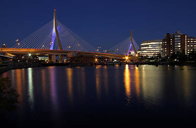 Boston Photograph - Zakim Bridge Lit Up Blue by Juergen Roth