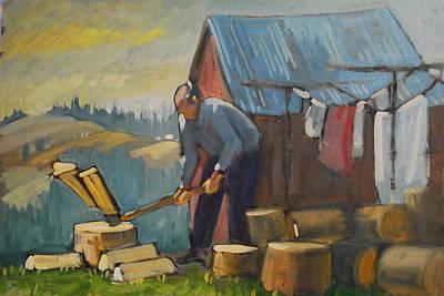 Distant Mountains Painting - Zakopane Wood Splitter by Len Stomski
