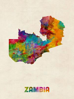 Zambia Watercolor Map Print by Michael Tompsett