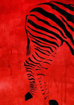 Animal Painting - Zebra Animal Decorative Red Poster 9 - By Diana Van by Diana Van