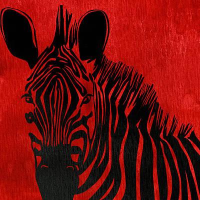 Zebra Animal Red Decorative Poster 6 - By Diana Van Print by Diana Van