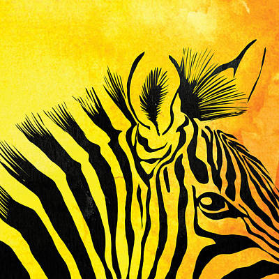 Pentaptych Painting - Zebra Animal Yellow Decorative Poster 5  - By  Diana Van by Diana Van